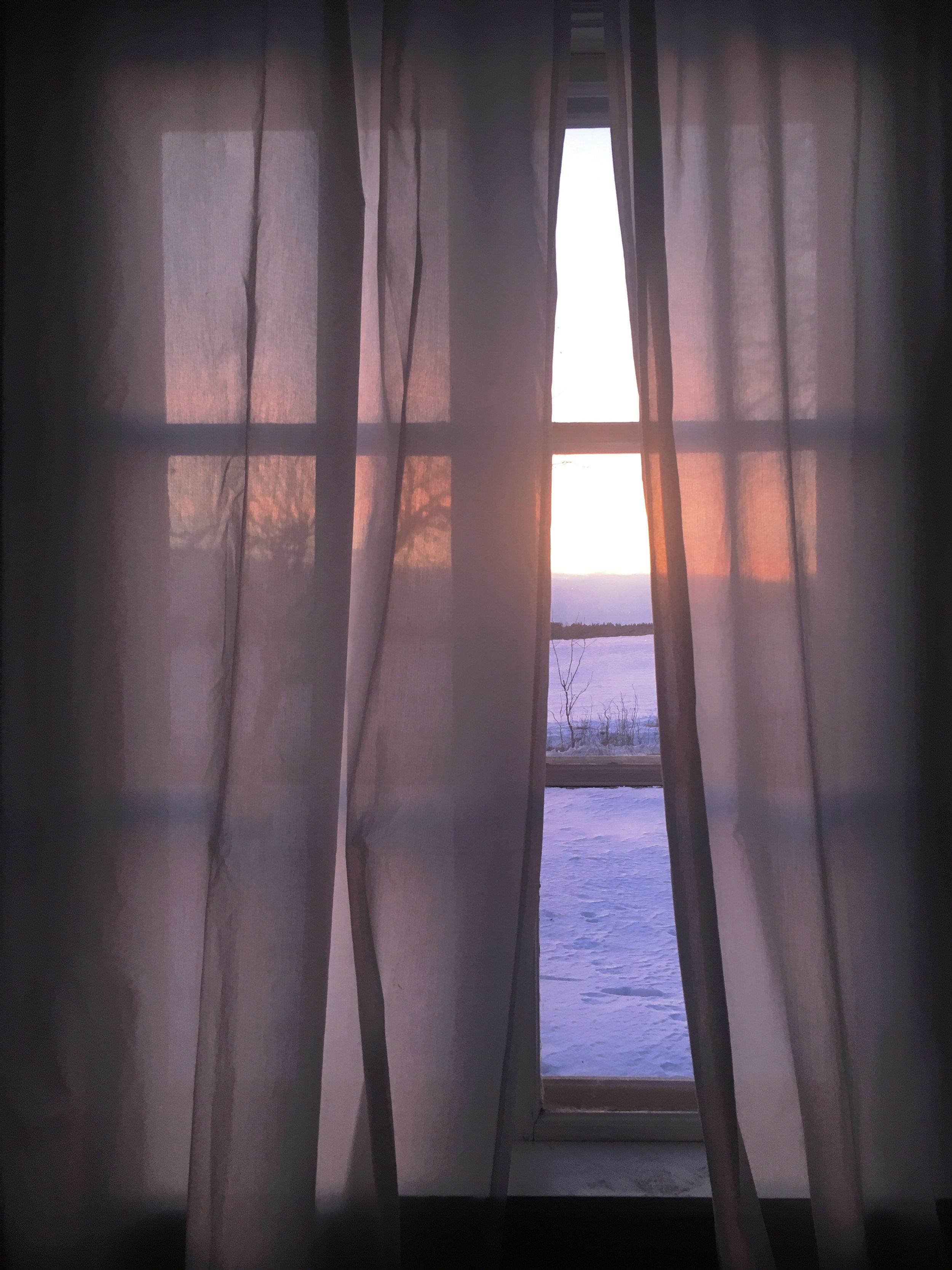 Från sovrummets fönster får jag någon slags sommarkänsla trots vintern utanför.
