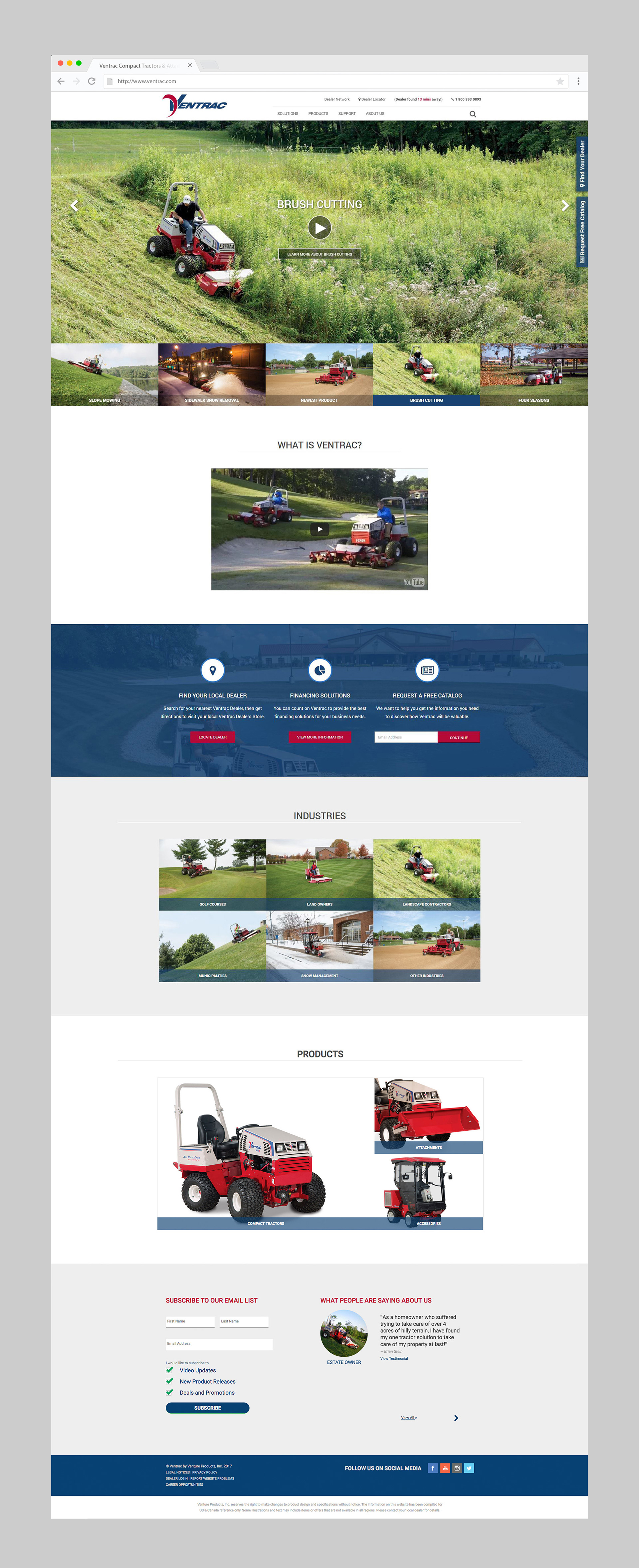 Ventrac Homepage Redesign