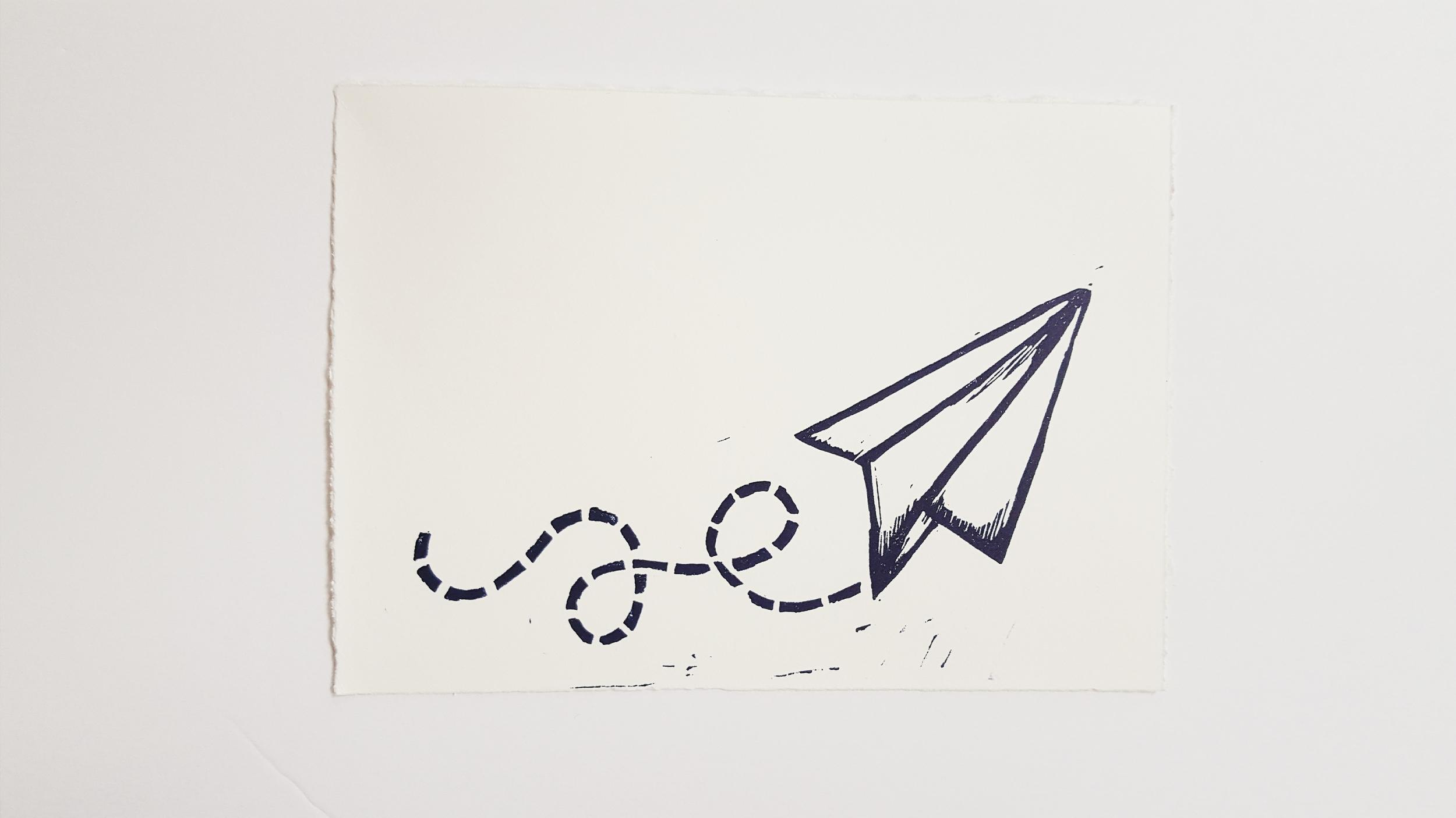 5x7 Paper Planes Lino Print