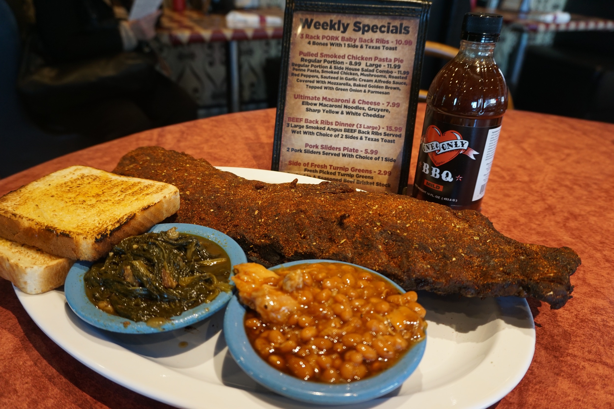 Dry rub ribs with baked beans and greens!