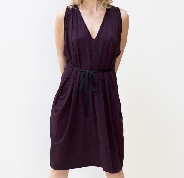 Ribbon Tie Dress ~ Purple Maroon