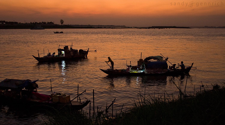 Sunrise on the Tonle Sap River, Phnom Penh, Cambodia
