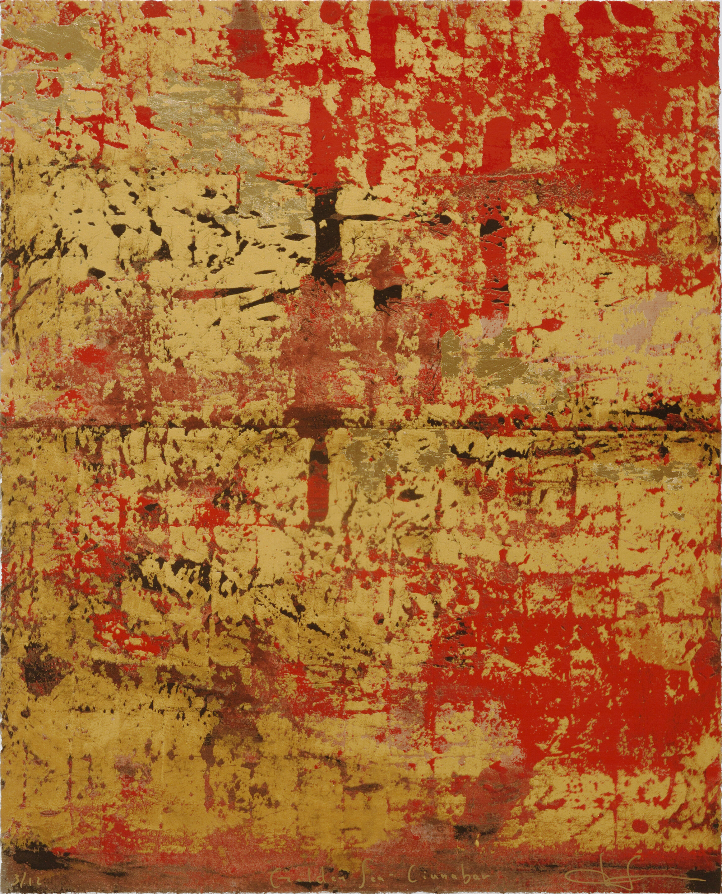 GOLDEN SEA : RED Silkscreen Print with gold leaf and gold powder    12 Total Editions  Image Size: 25 1⁄2 x 32 inches (vertical)   **Three as set: 10% discount shall be applied **Color red may appear darker on print