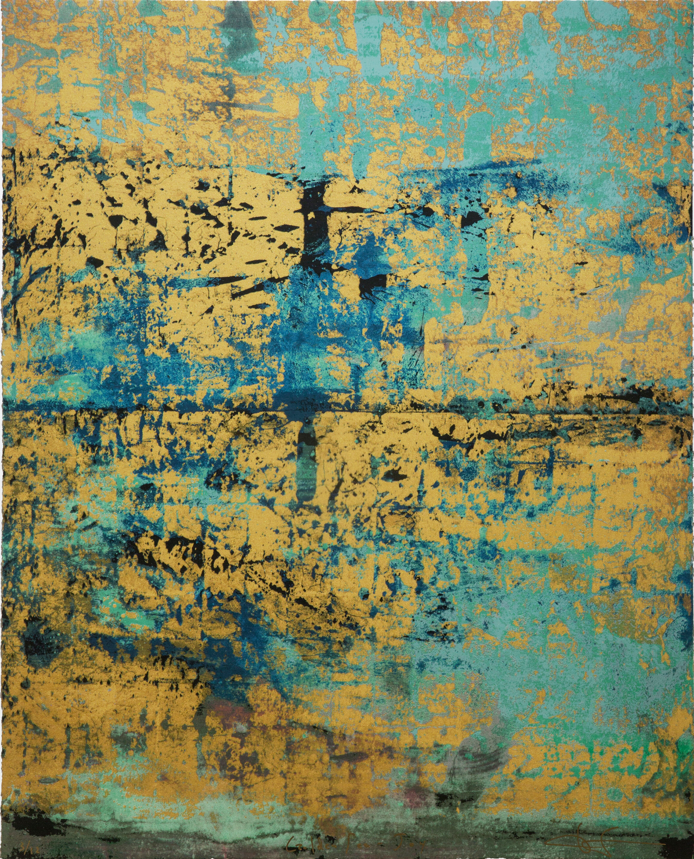 GOLDEN SEA : BLUE Silkscreen Print with gold leaf and gold powder    12 Total Editions  Image Size: 25 1⁄2 x 32 inches (vertical)