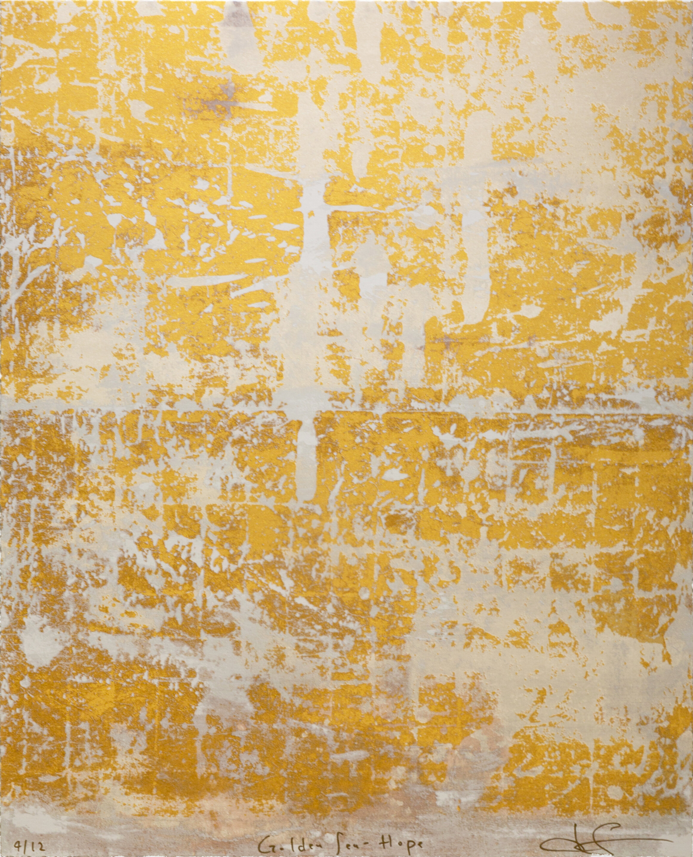 GOLDEN SEA : WHITE Silkscreen Print with gold leaf, gold powder and oyster shell powder    12 Total  e ditions   Image Size: 25 1⁄2 x 32 inches (vertical)   **Three as set: 10% discount shall be applied