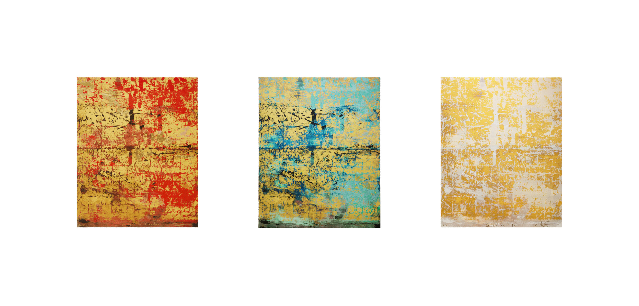"""My new series of museum quality silkscreen prints will be produced in collaboration with master printer, Gary Lichtenstein, at his studio inside Jersey City's spectacular Mana Contemporary. The limited edition prints of """"Golden Sea"""", """"Walking on Water - Banquo's Dream"""" and """"Charis-Kairos (The Tears of Christ)"""" use the original paintings as a road map to create a brand new series of works. The authen- tic practice of silkscreen is still done entirely by hand and these unique prints will also feature applications of gold leaf, gold pow- der, iridescence and diamond dust. I have admired Gary's work for some time, notably the editions produced with artists including Marina Abramovic, Robert Indiana, Alfred Leslie and James Prosek. I was delighted to be introduced by Kate Shin of Waterfall Mansion Gallery and I look forward to the new creations.   By Makoto Fujimura"""