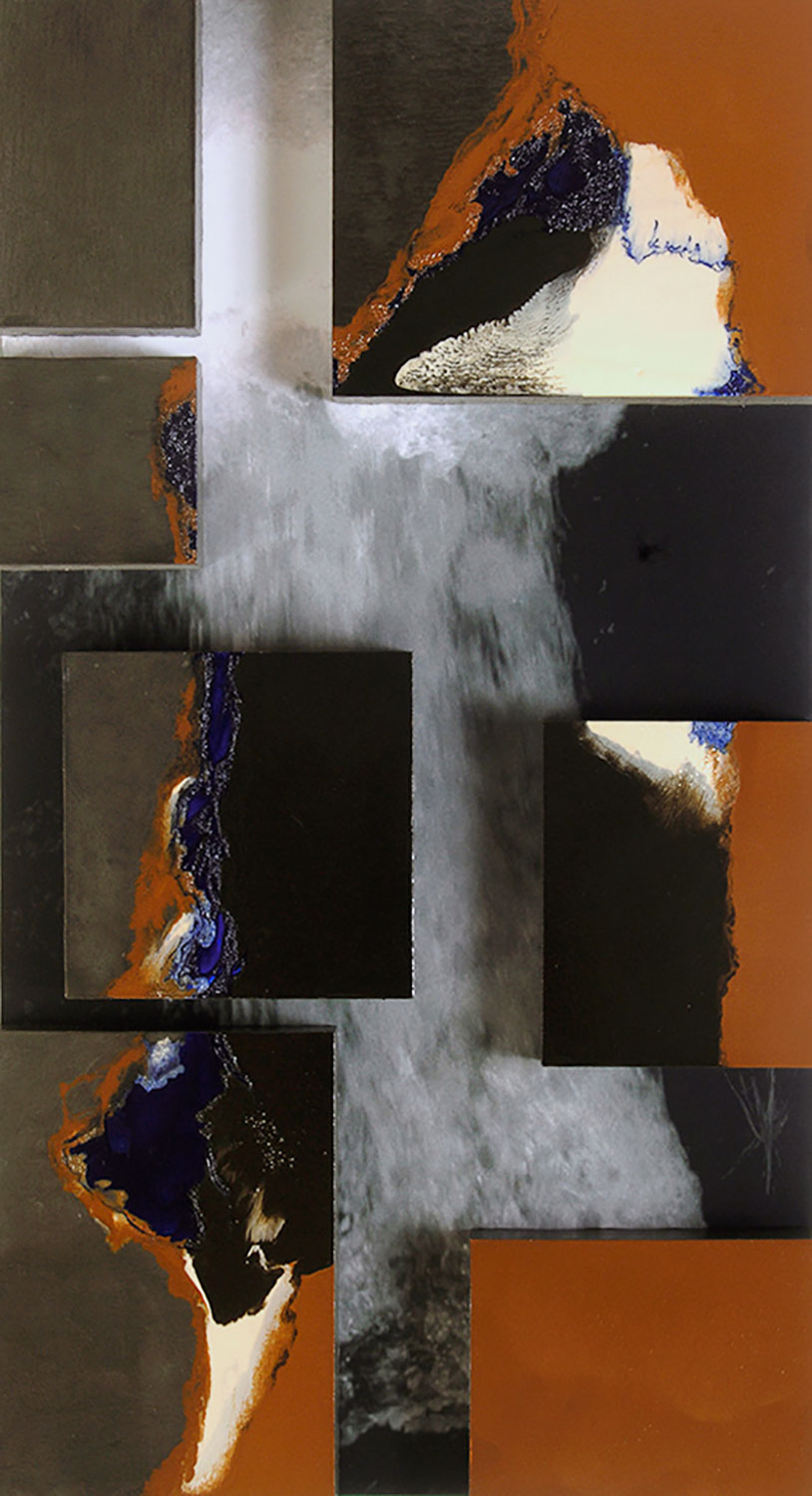 Mersion Vlll, 2006, Oil and photo on panel, 24x48""