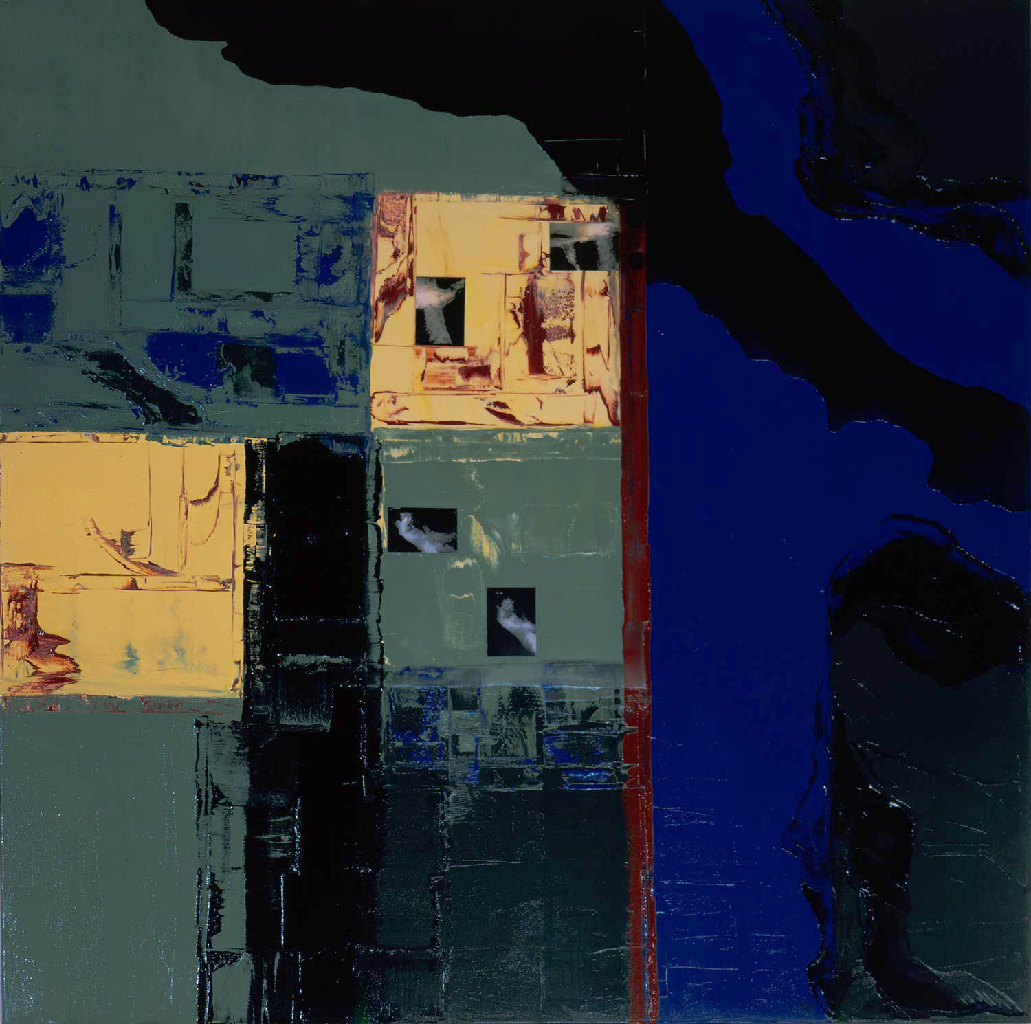 """Scapes Vl, 2001 Oil, photo and encaustic on canvas,48x48"""""""