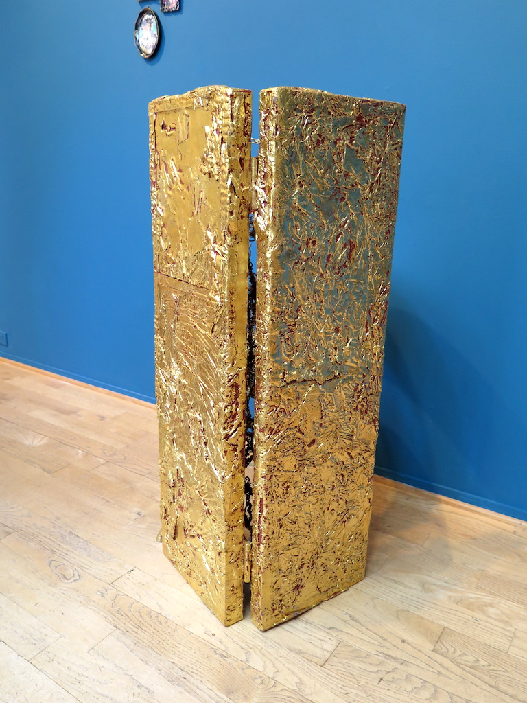 After Some Reflection, oil, resin, wax, panel, wire, goldleaf and chair. 2016