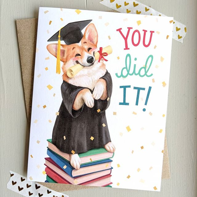 Congrats to all the grads out there this year! Hold your heads up high, (even if you have to sit on top of allll the books like this short guy 🐶). . . . . #mudsplashstudios #greetingcard #stationerylove #dailydoseofpaper #congratsgrad #greetingcards #paperlove #papergoods #illustration #tsbcalum #illustrationartists #corgisofinstagram #corgi #stationery #corgilove #snailmail #graduationcards #sendmoremail #happymail#papercampalum