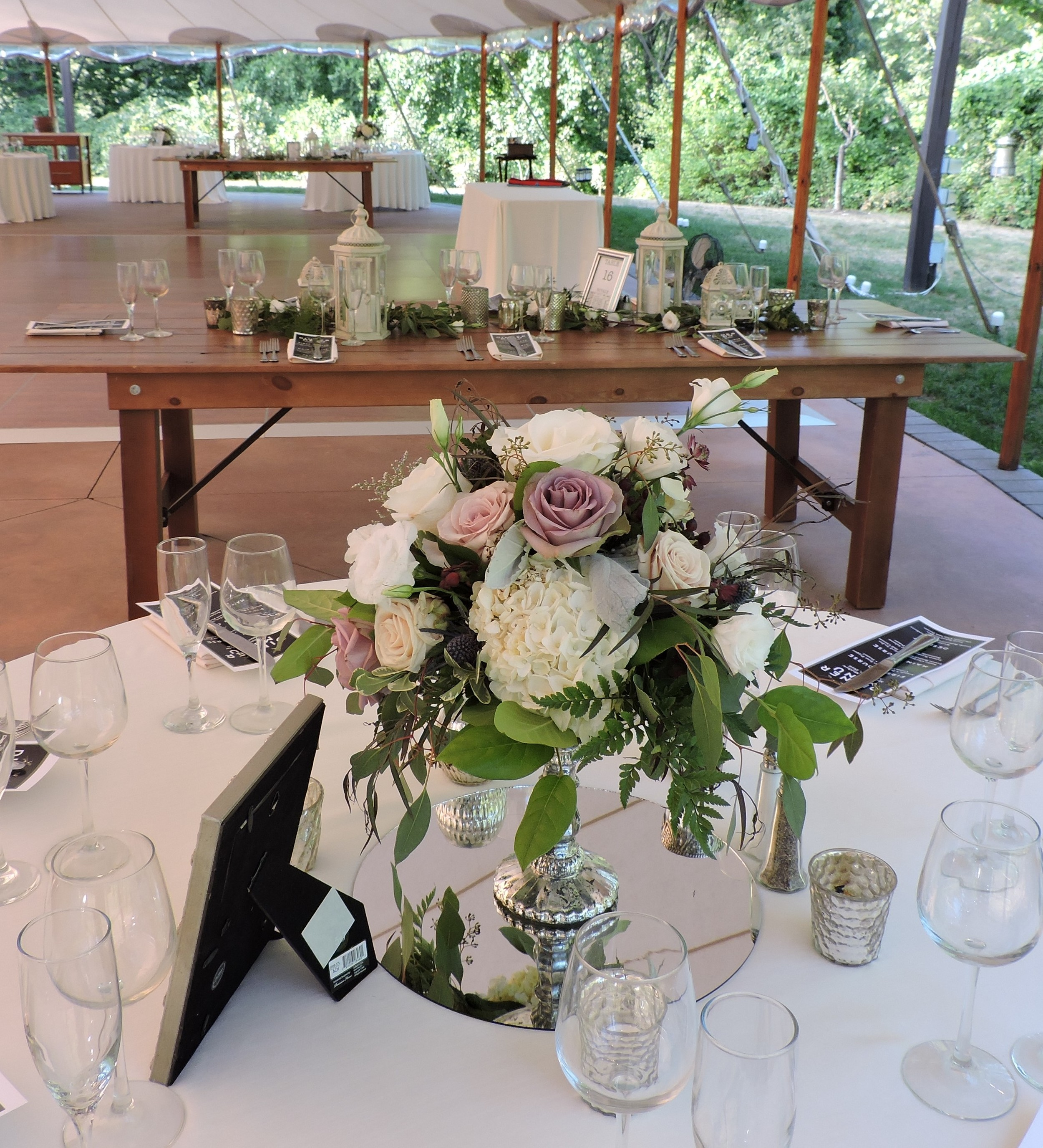 Companion centerpiece in mercury glass compote to wooden box with Amnesia roses and hydrangeas at Willowdale Estate by Maureen Christmas AIFD CFD EMC of Floral Notes, Acton, MA