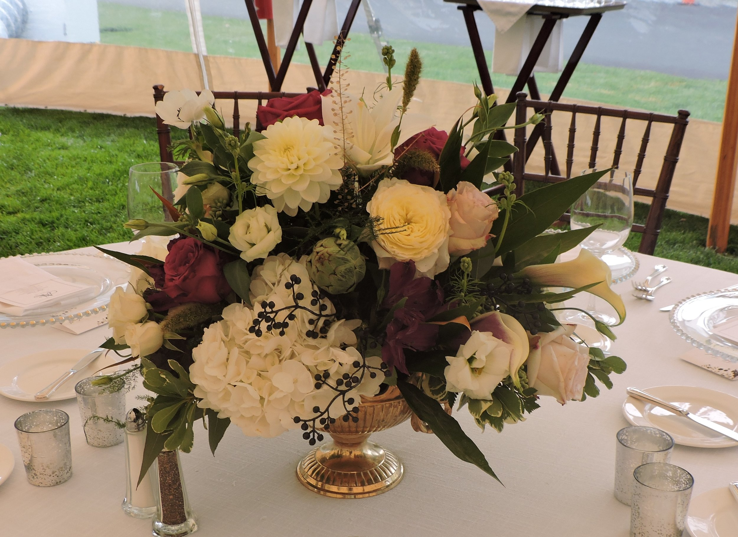 Upscale design including anemones, dahlias, and garden roses in a golden compote at The Country Club, Brookline, MA by Maureen Christmas AIFD CFD EMC of Floral Notes, Acton, MA
