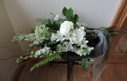 Woodland bouquet in green and white to be held presentation style
