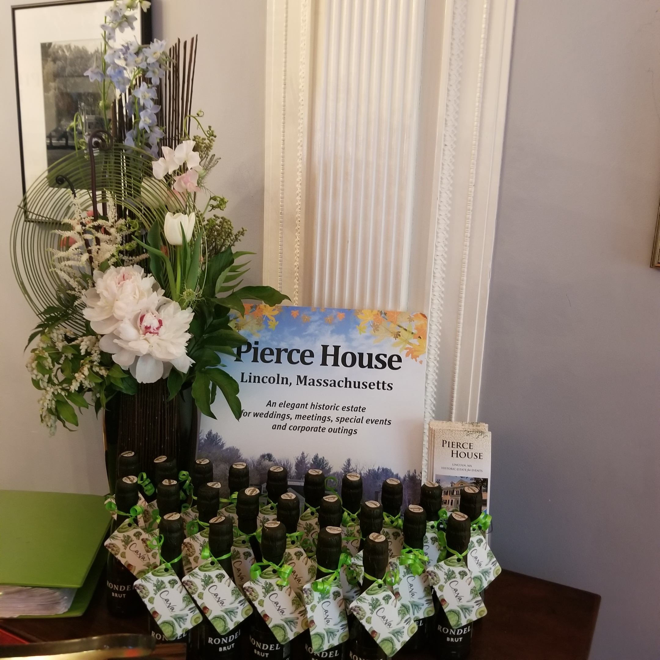 Welcome table design at Pierce House, Lincoln MA for NACE event. Catering by Cava Catering and Events. Organized by Luba Mitnik at Primavera Dreams.