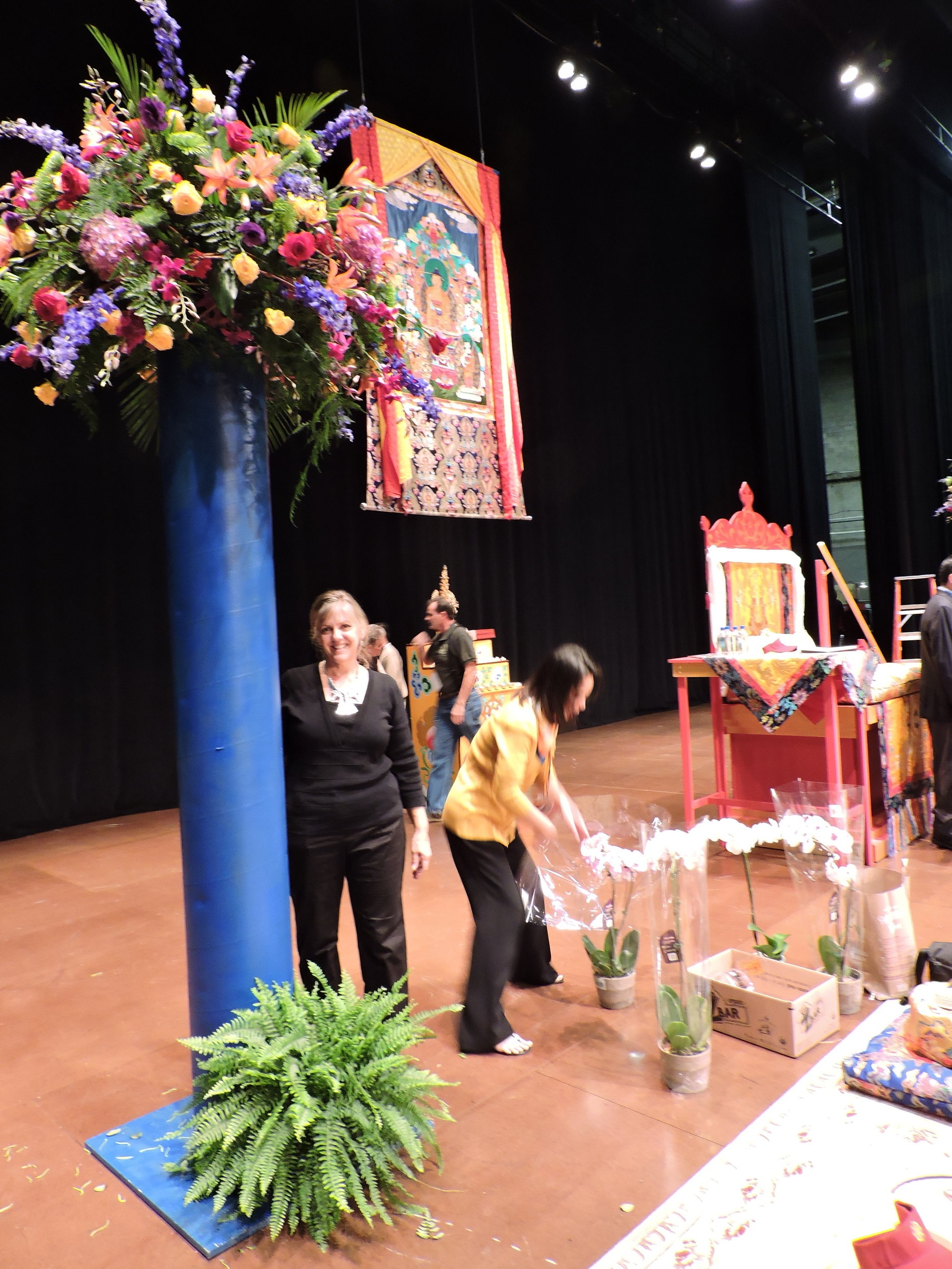 On the Wang Center Stage - Prep day - Flowers needed to look appropriate to monks on the stage as well as to guests in the third balcony.