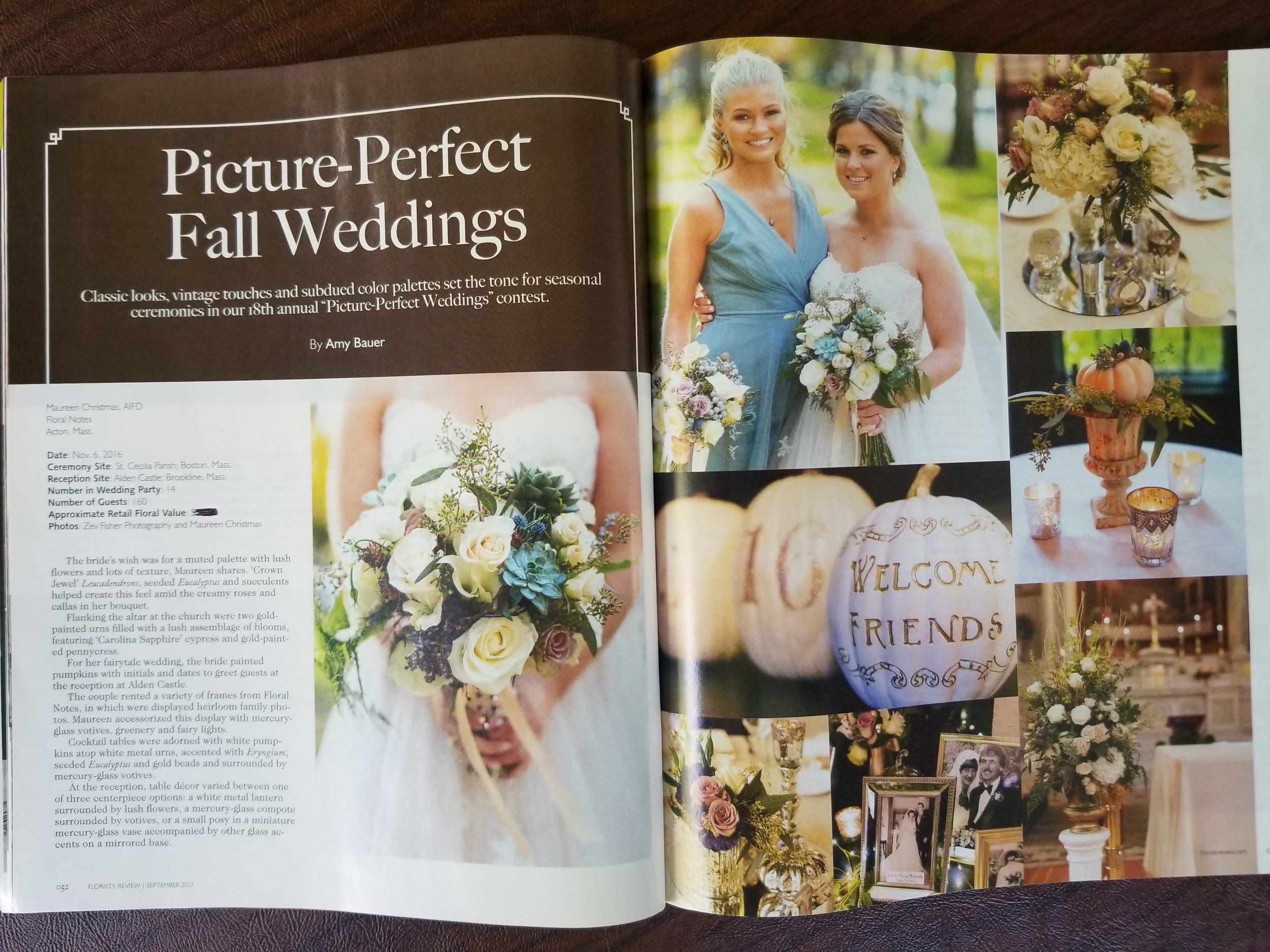 An honor to be the featured wedding in the fall edition of Florists' Review's Picture-Perfect Fall Weddings!