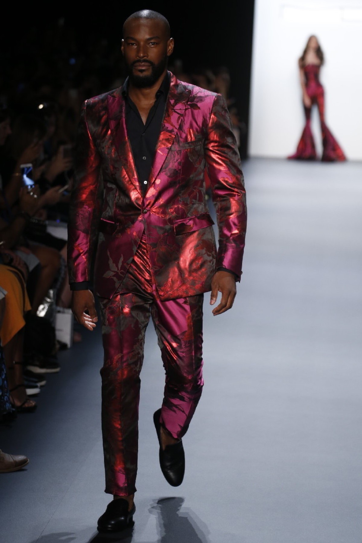 Tyson Beckford on the runway for Michael Costello, Taken from    NYFW.com