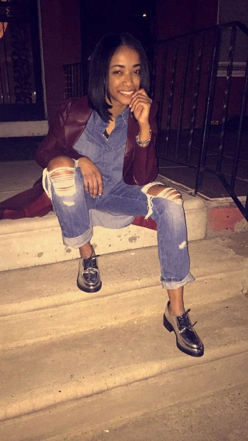"""Words from model Anayes Baldwin: """"I love a jean look with some added flare to take it from basic to edgy."""""""