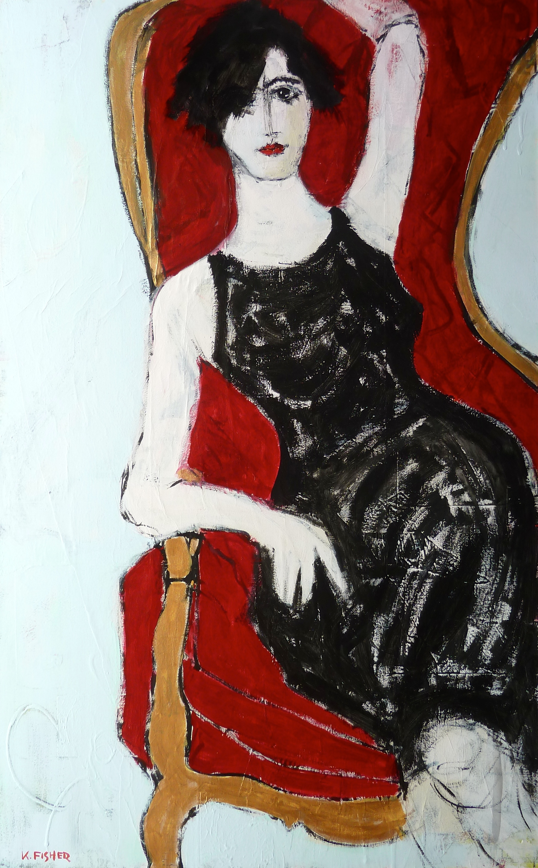 Seated Woman in a Red Chair