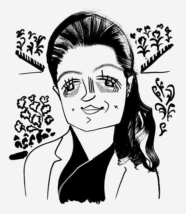 """This week, @guarnaschelli tours Farm.One with The New Yorker. Link in bio. Look at that great illustration! """"Hydroponics are a slippery slope. You might find yourself, one Sunday morning, at a Santa Monica farmers' market, loitering among the apples, say. You come across a bunch of papalo, a leafy herb native to central Mexico, and toss it in your mouth (your tastes are expansive; a papalo leaf is nothing to you) and wham!: a brand-new flavor. Suddenly, you're up at all hours, watching vertical-farming videos on YouTube, ordering seed packets from eBay, buying rhizomes—rhizomes!—and worrying about spider mites. You get some fennel crowns and a pouch of parasitic wasps, and you're on your way."""" You can tour the farm yourself by visiting Farm.One  #newyorker #urbanfarming #nycfood #verticalfarming #foodie #foodstagram #illustration #salad #nyctour"""