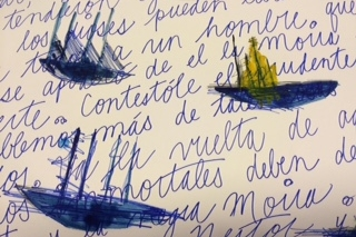 Collective Memory,   Slover Library Installation,water color, blue ink, graphite and beeswax on paper, Detail 2015