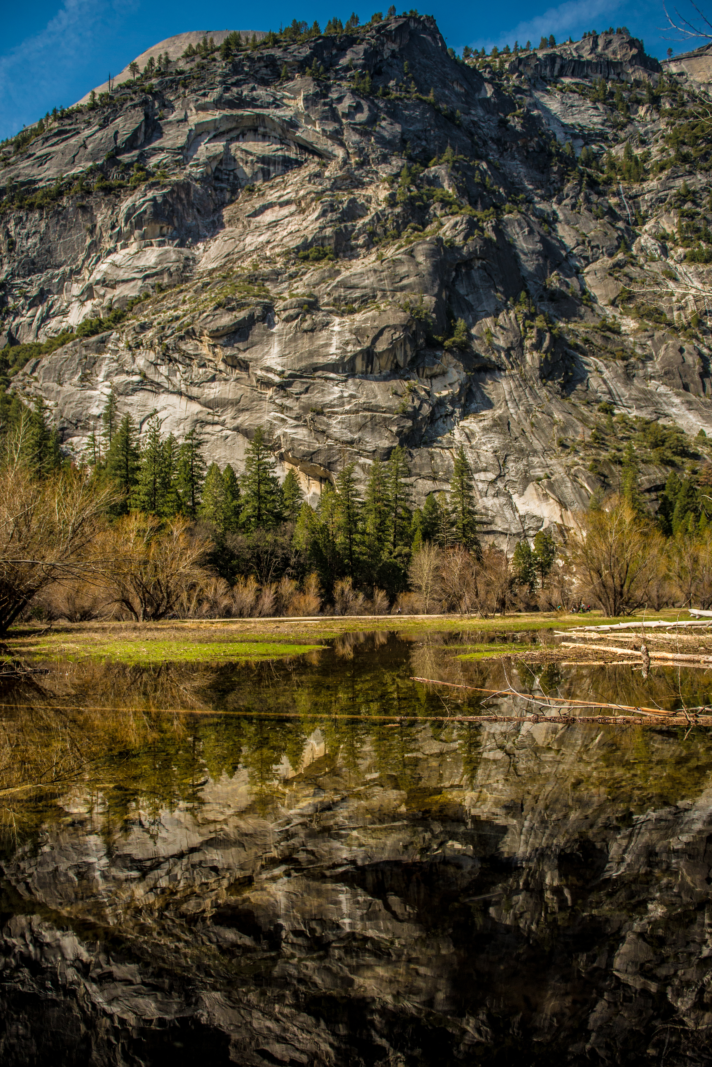 Cliff wall reflecting on Mirror Lake