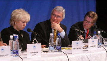 Allan Cox on a business panel at the October 2006 Forum 2000 in Prague with Former Canadian Prime Minister Kim Campbell.