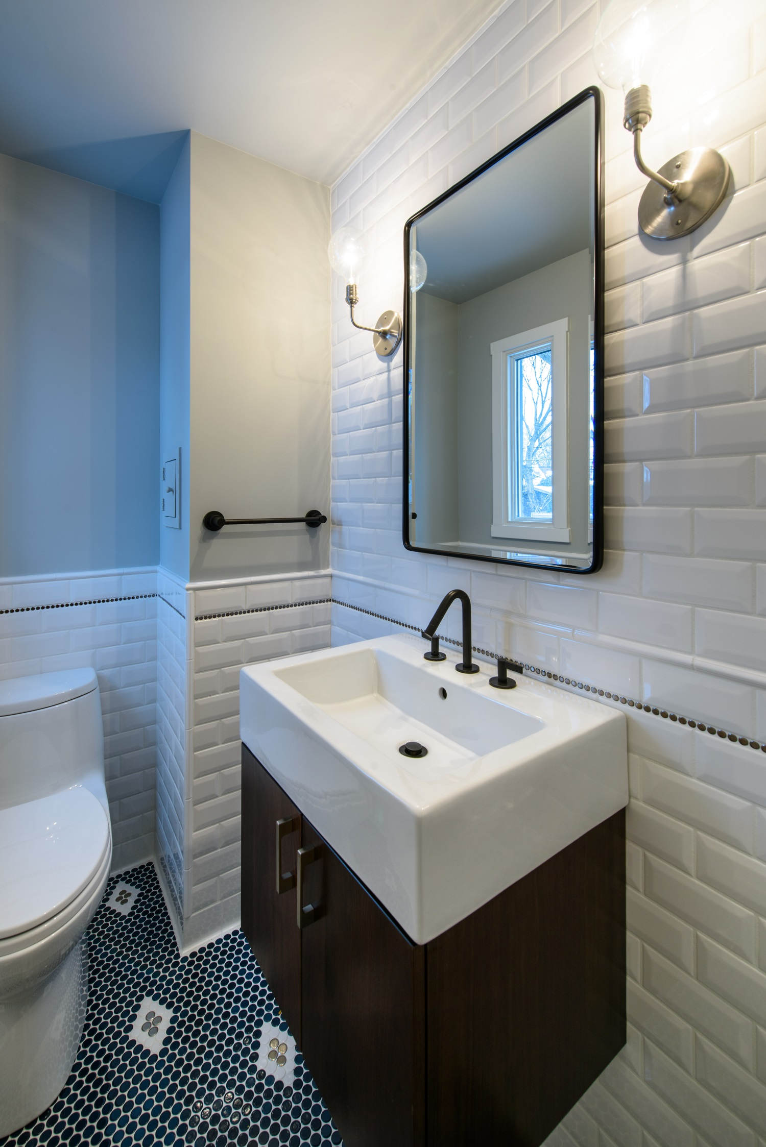 Period Modern Powder Room Jill Warren Design