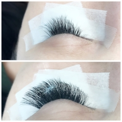50% lashes still on before Touch Up and results after Touch Up (volume lashes)
