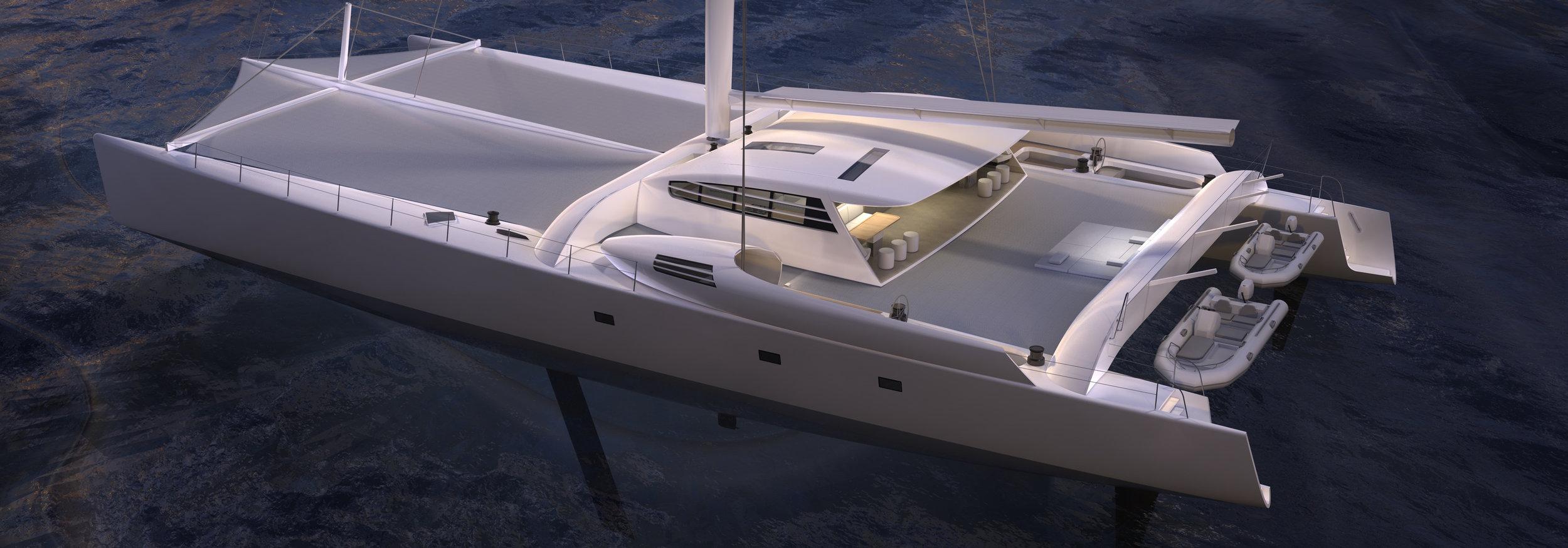 La catamaran Vitalia, dont le design de la transformation à été confié à Narrative.