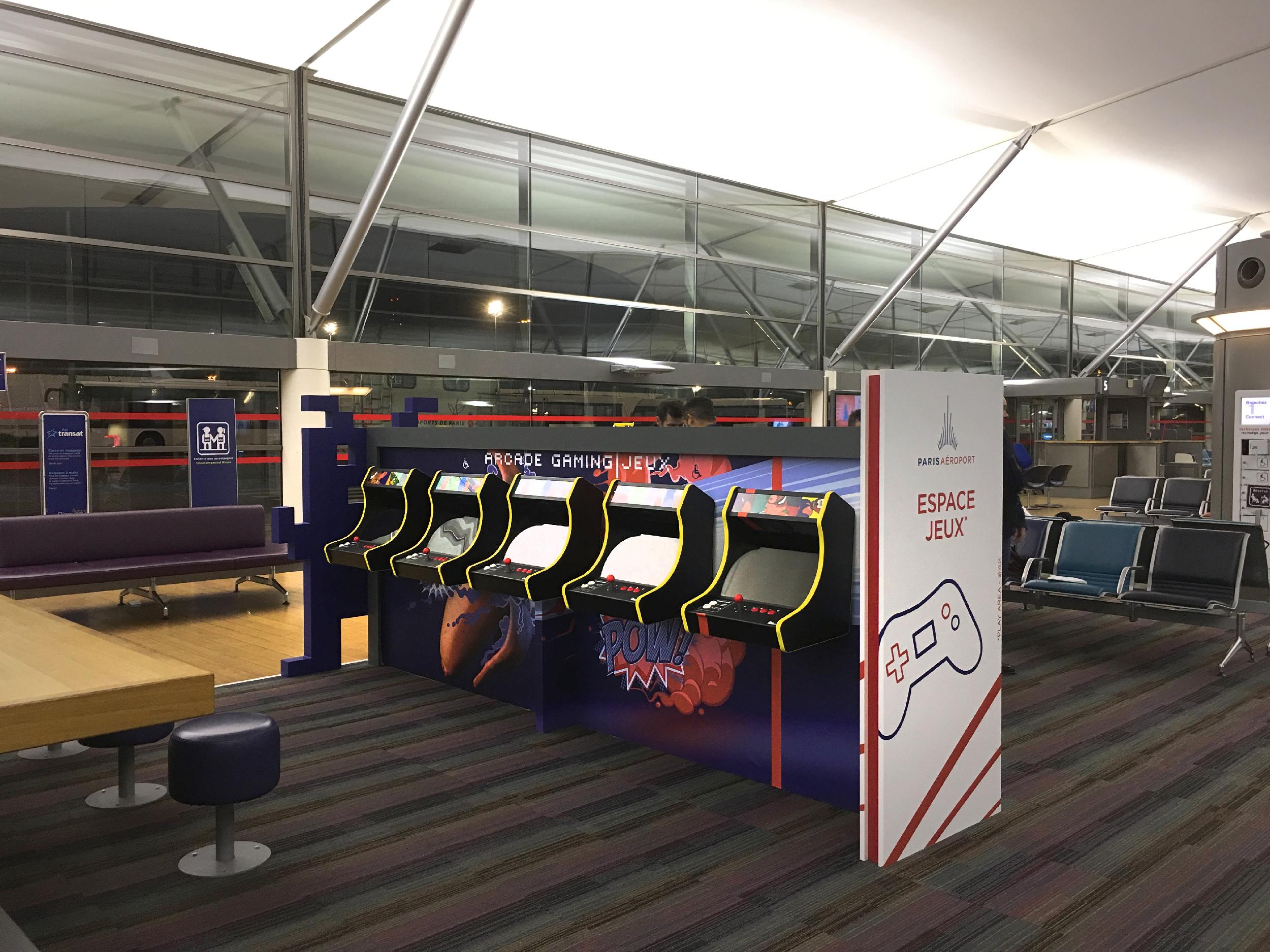 Nouvel espace Arcade Gaming à l'aéroport Charles-de-Gaulle, terminal 3