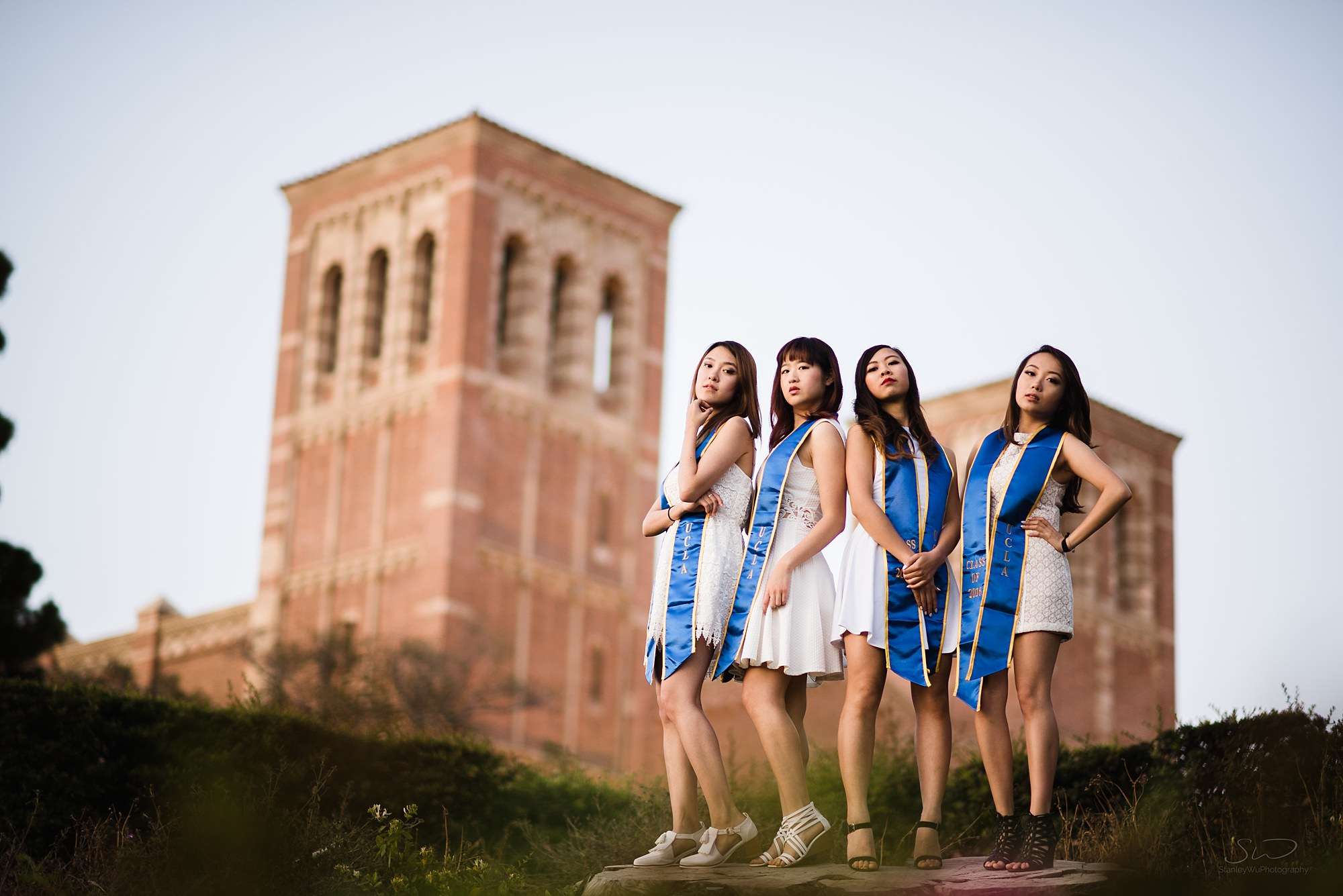 epic graduation senior portrait of a group of badass girls posing in front of royce hall at ucla in los angeles