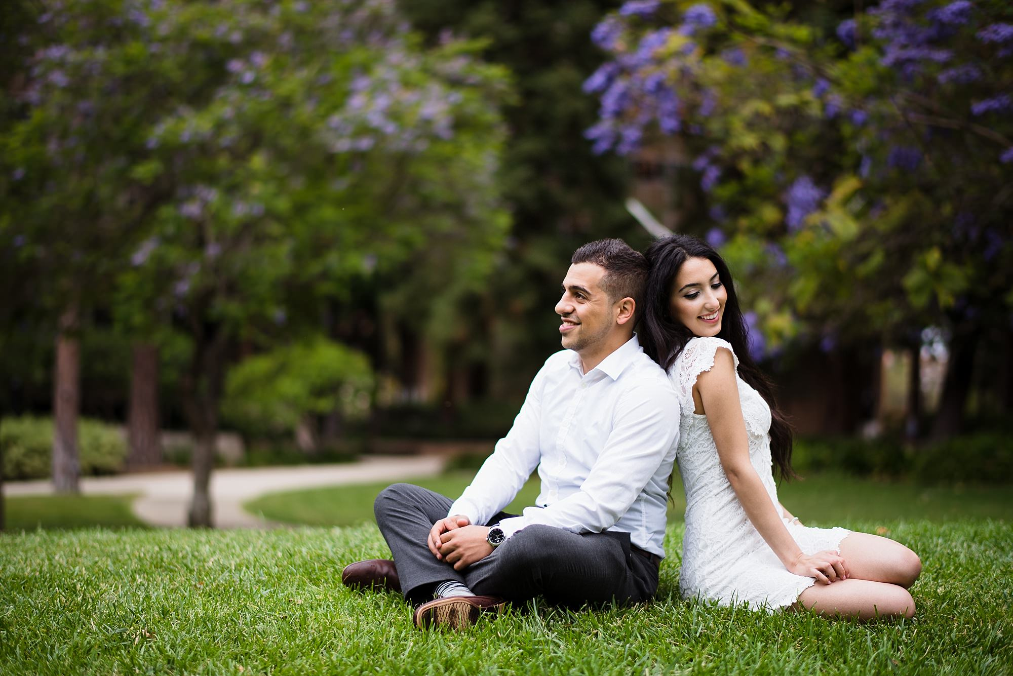 beautiful graduation senior portrait of a middle-eastern couple in love at ucla in los angeles