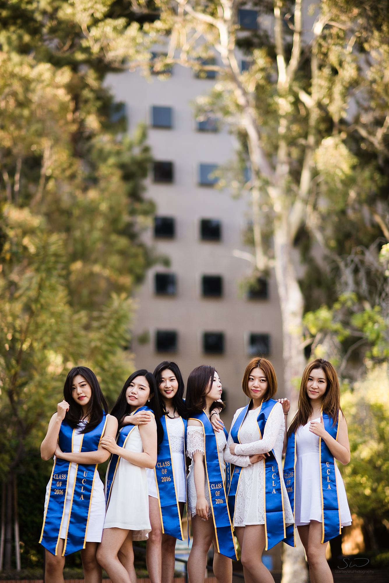 beautiful graduation senior portrait of a group of korean girls posing at ucla in los angeles