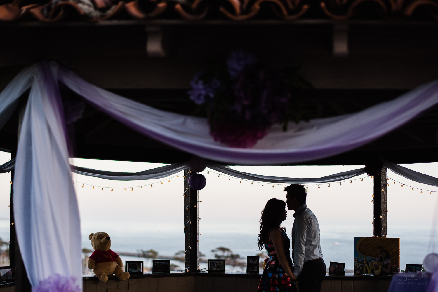 Epic silhouette in gazebo. Cliffside proposal & engagement in Dana Point | Stanley Wu Photography Portrait & Wedding Photographer | Los Angeles, Orange County, Southern California