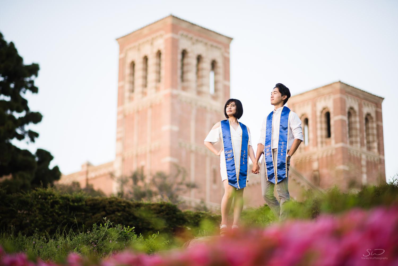 Copy of Copy of couple posing on tree stump at ucla  | Stanley Wu Photography | Los Angeles | Graduation Portraits | UCLA, USC, LMU, Pepperdine, CSULA, CSUN, CSULB, UCI, UCSD