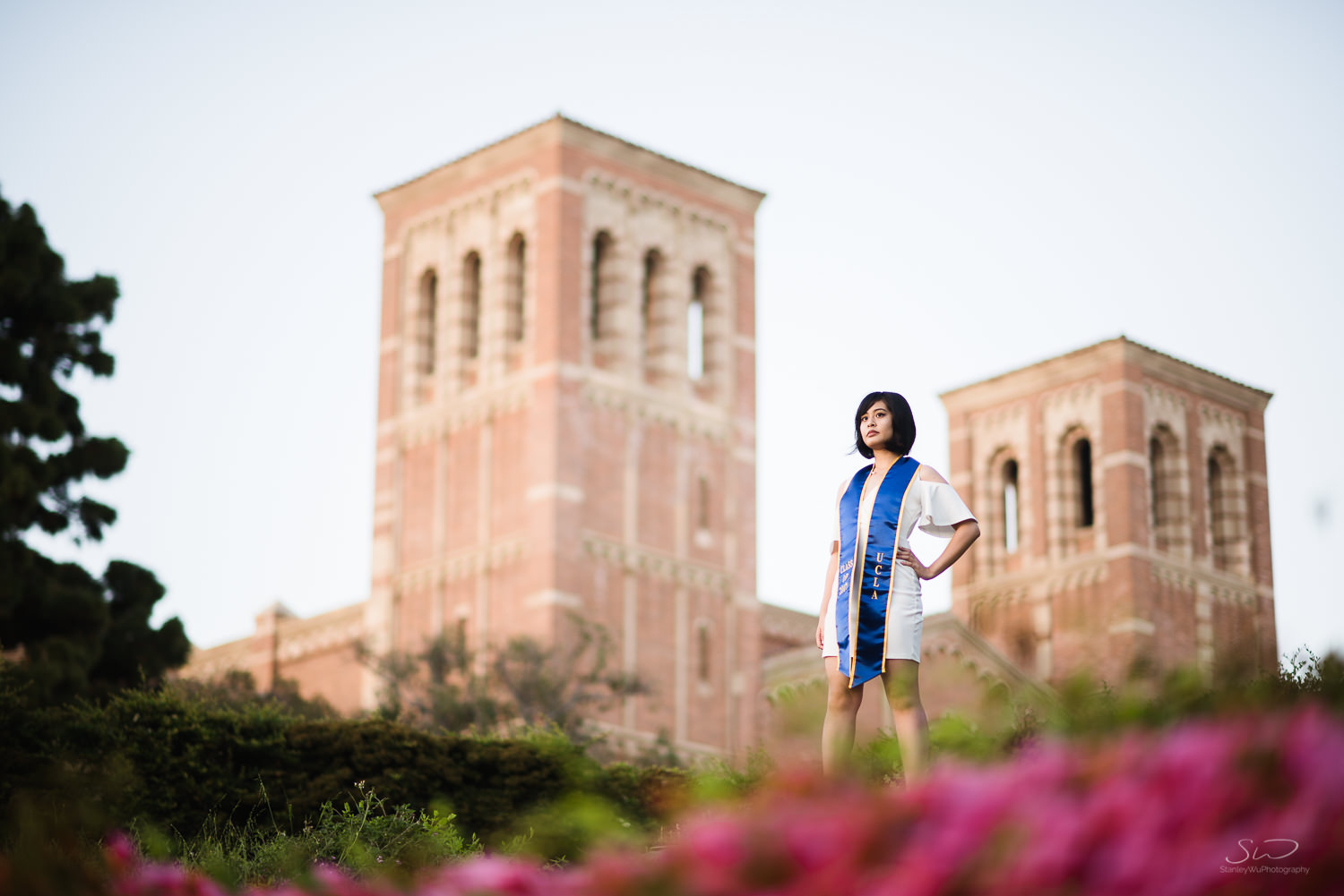 Copy of Copy of epic pose of a girl overlooking campus | Stanley Wu Photography | Los Angeles | Graduation Portraits | UCLA, USC, LMU, Pepperdine, CSULA, CSUN, CSULB, UCI, UCSD