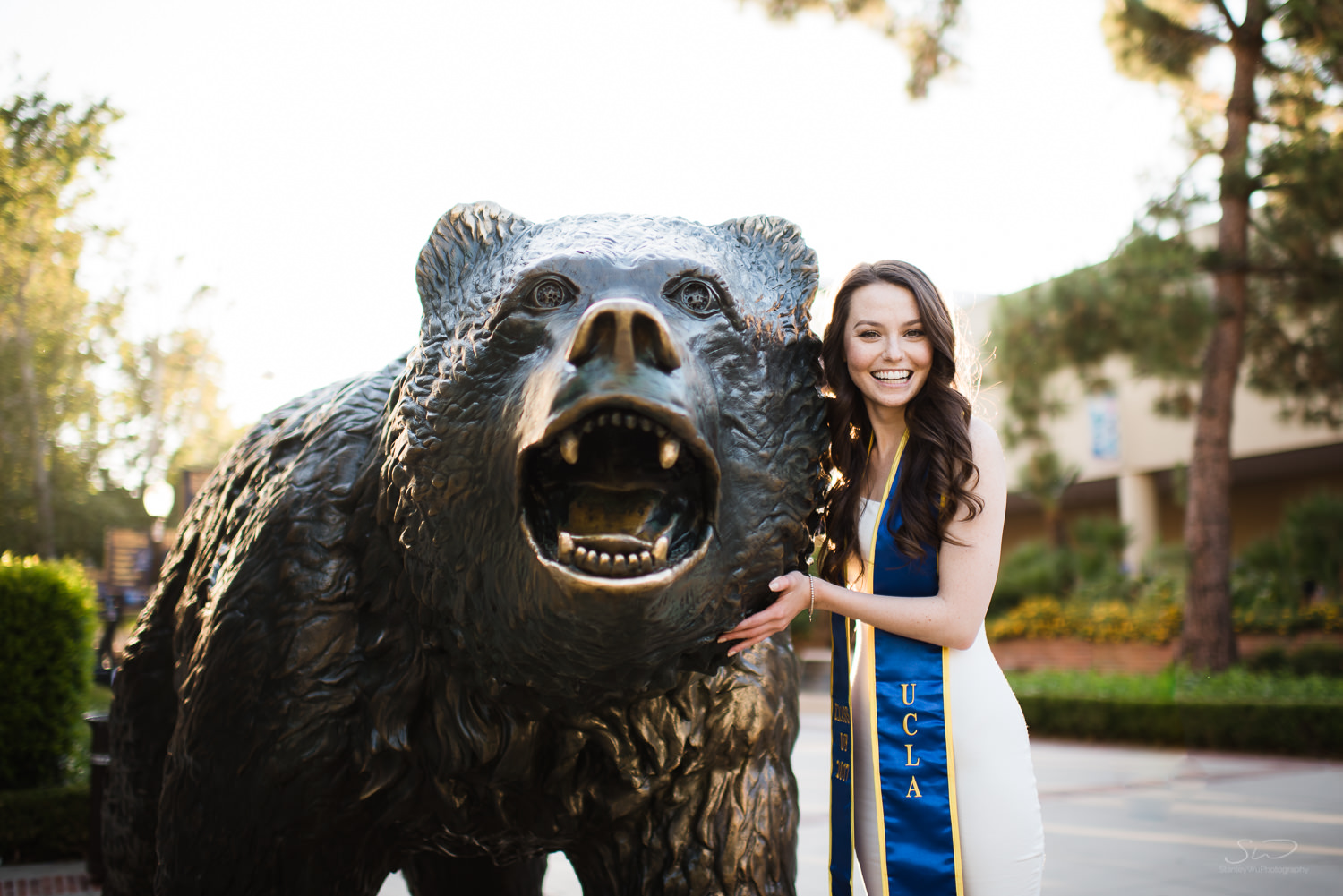 Posing with the Bruin Bear at UCLA.  Best graduation portrait photography, Los Angeles.