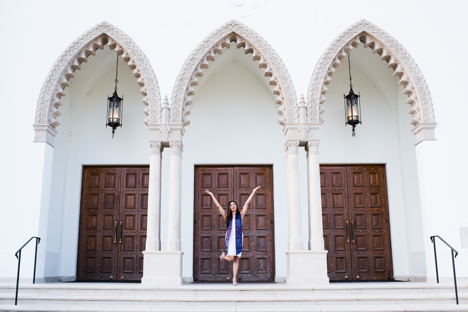 Arches of Sacred Heart Chapel at Loyola Marymount University. LMU. Best graduation portrait photography, Los Angeles.