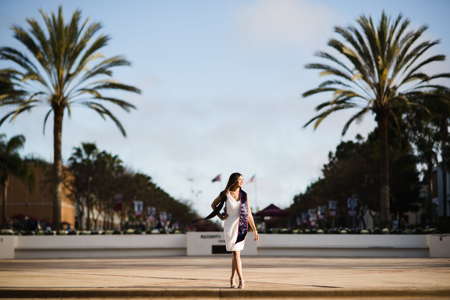 Epic pose on campus at Loyola Marymount University LMU. Best graduation portrait photography, Los Angeles.
