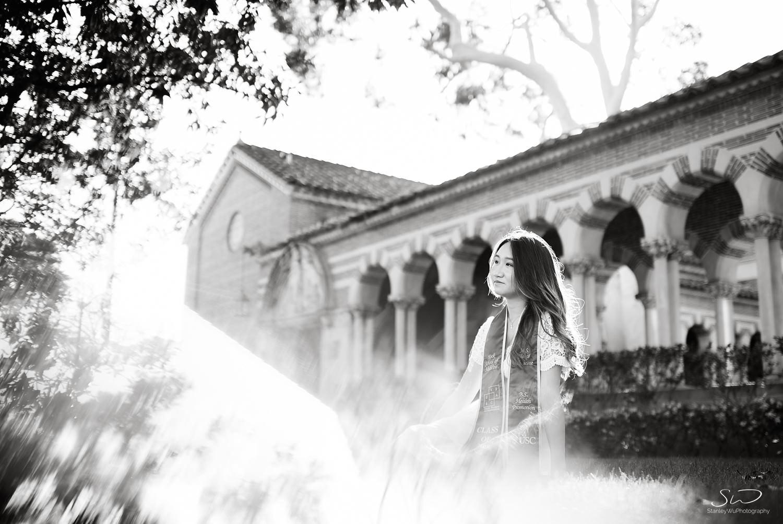 Creative reflective portrait using a prism at USC | Los Angeles Orange County Senior Portrait & Wedding Photographer
