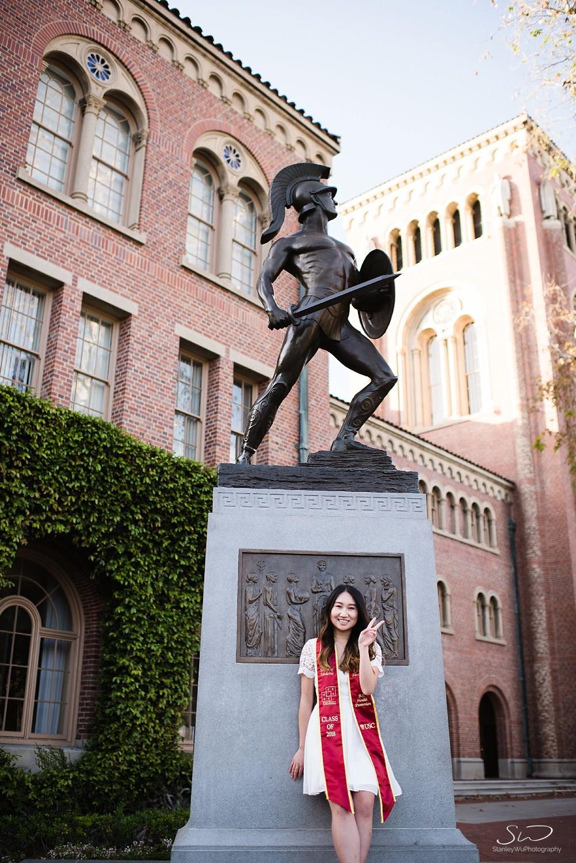 Tommy Trojan graduation photo at USC | Los Angeles Orange County Senior Portrait & Wedding Photographer