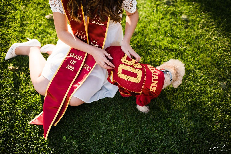 Collegiate apparel for dogs, poodles at USC | Los Angeles Orange County Senior Portrait & Wedding Photographer