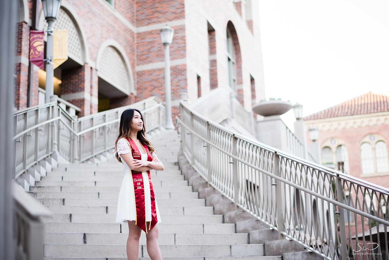 Steps of Troy graduation portrait at USC | Los Angeles Orange County Senior Portrait & Wedding Photographer