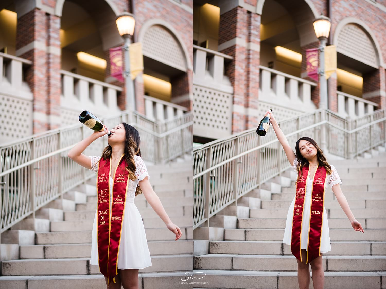 Celebrating with champagne at Steps of Troy at USC | Los Angeles Orange County Senior Portrait & Wedding Photographer