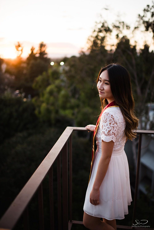 Rooftop sunset photo at USC | Los Angeles Orange County Senior Portrait & Wedding Photographer