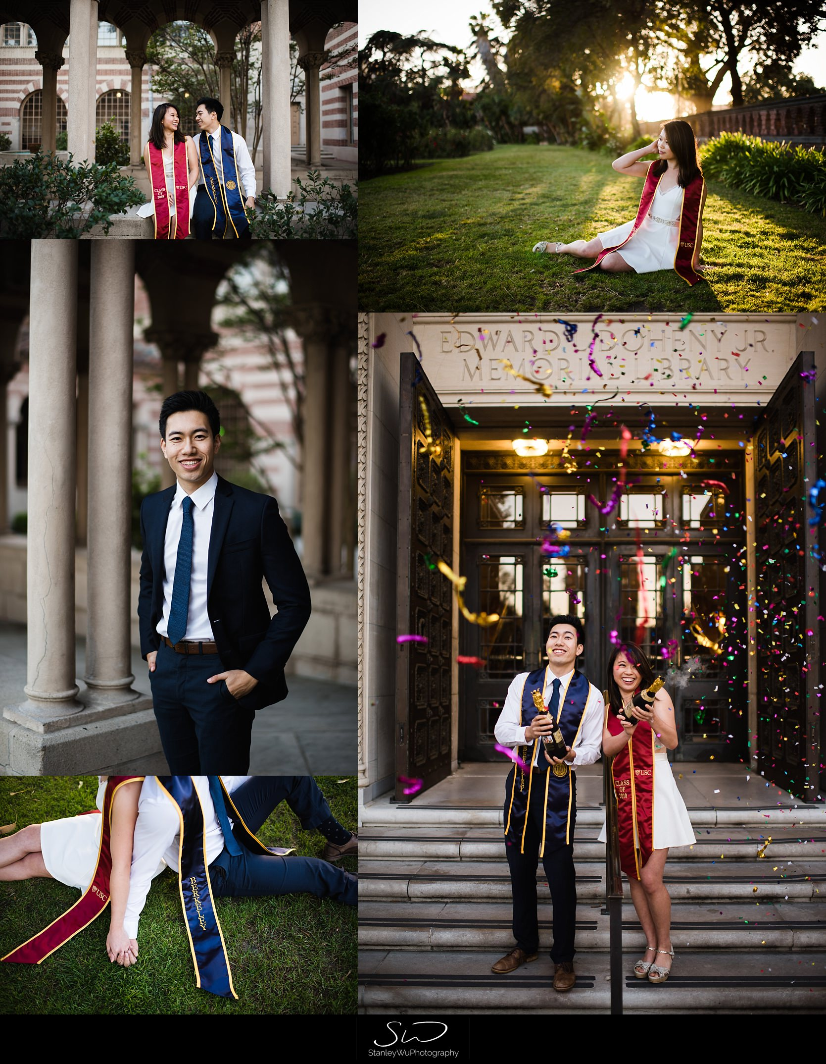 Collage of USC and UC Berkeley couple | Los Angeles Graduation and Senior Portrait Photographer