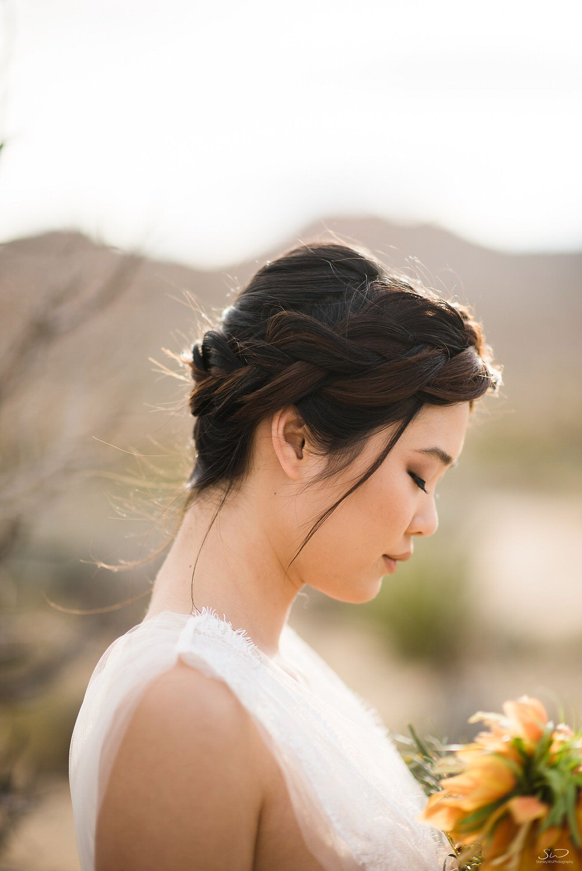 Profile shot of bride with desert flower bouquet | Joshua Tree Desert Wedding & Engagement Inspiration
