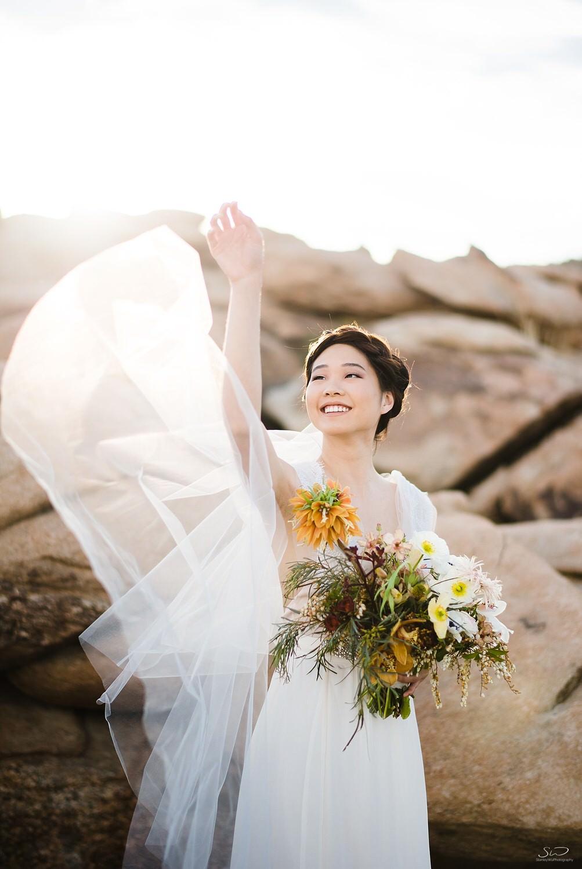 Bridal veil toss  | Joshua Tree Desert Wedding, Engagement, Elopement, Adventure Inspiration