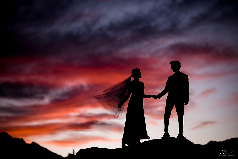 Epic sunset silhouette | Joshua Tree Desert Wedding, Engagement, Elopement, Adventure Inspiration